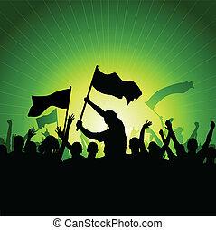 Una multitud feliz con banderas