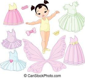 Una niña con diferentes hadas, ballet y vestidos de princesa