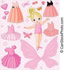 Una niña con diferentes vestidos
