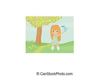 Una niña con un pájaro