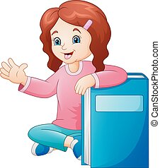 Una niña de dibujos animados con un gran libro