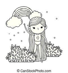 Una niña en el jardín con arco iris