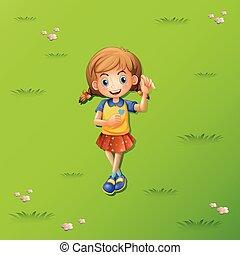 Una niña en la hierba
