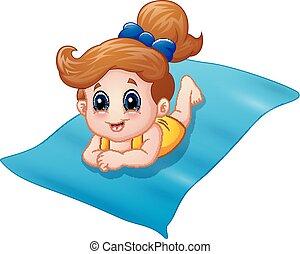 Una niña en las alfombras