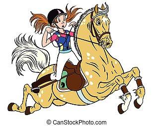 Una niña en un caballo