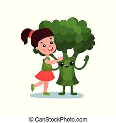 Una niña encantadora abrazando a un personaje vegetal gigante de brócoli, mejores amigos, comida saludable para niños vector de ilustración