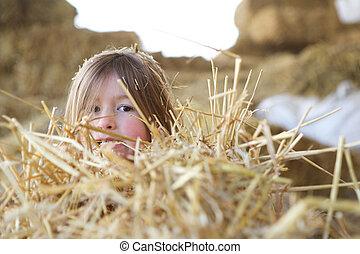 Una niña escondida en el heno