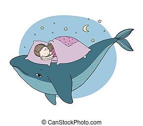 Una niña está durmiendo sobre una ballena. Una cama acogedora. Tema del mar. Dibujo a mano objetos aislados en el fondo blanco.
