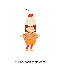 Una niña graciosa vestida de magdalena con crema batida y cereza. Lindo disfraz. Dulce merienda. Diseño vectorial plano