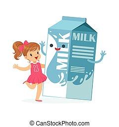 Una niña linda y una caja de cartón de leche graciosa con cara humana sonriente jugando y teniendo niños divertidos, dibujos animados de dibujos animados de los dibujos animados de los niños vectores de la ilustración