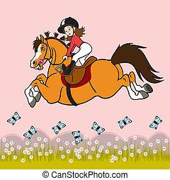 Una niña montando a caballo