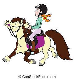 Una niña montando un pony