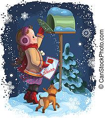 Una niña que envía una carta a Santa