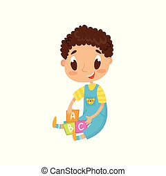 Una niña rubia jugando con su osito de peluche en la fiesta del té, un lindo vector de dibujos animados de ilustración en un fondo blanco