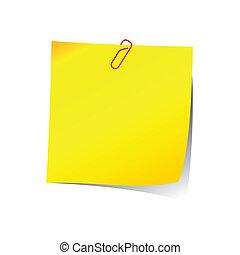 Una nota con clip rojo