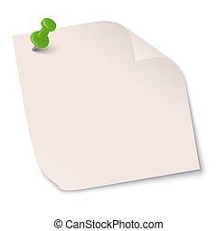 Una nota de color con aguja de alfiler