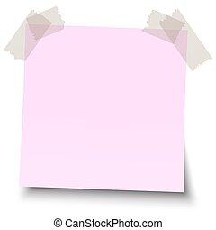 Una nota de color con cinta adhesiva