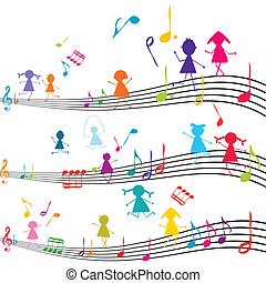 Una nota de música con chicos tocando con las notas musicales