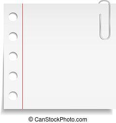 Una nota de papel blanco con clip