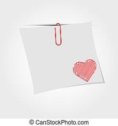 Una nota de papel blanco con clip y rojo