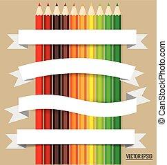 Una nota de papel con lápices de colores, ilustración vectorial.