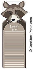 Una nota de papel con mapache de fondo
