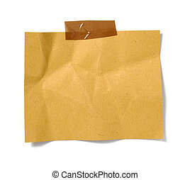 Una nota de papel marrón
