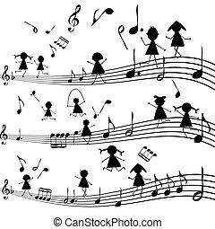 Una nota musical con siluetas estilizadas