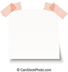 Una nota pegajosa blanca con cinta adhesiva