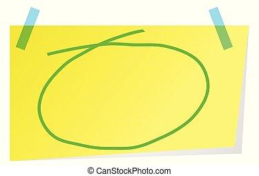 Una nota pegajosa con mano verde dibujada en el círculo para resaltar el texto.