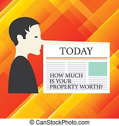 Una nota que muestra cuánto vale su propiedad. Las fotos de negocios muestran el precio de un hombre de propiedades con una nariz muy larga como Pinocho un periódico en blanco está unido.