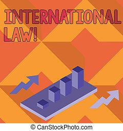Una nota que muestra derecho internacional. Fotos de negocios muestran sistema de tratados y acuerdos entre naciones agrupados gráfico de barras 3D en perspectiva con dos flechas.