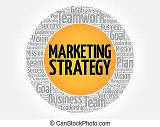 Una nube de estrategia de marketing
