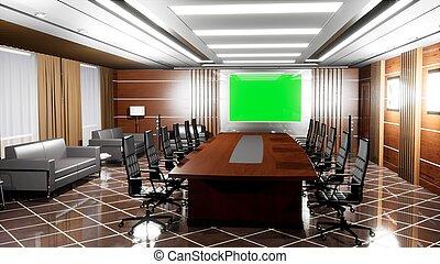 Una oficina moderna vacía con pisos de madera, escritorios, sillones y panel de televisión con pantalla verde. 3D