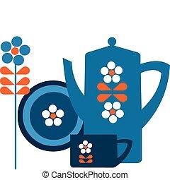 Una olla azul y una taza con flor
