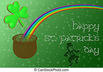Una olla de oro al final del arco iris con un mensaje del día de San Patricio Feliz mostrado en un fondo verde