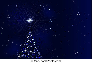 Una pacífica noche estelar con árbol de Navidad