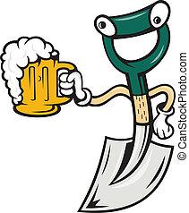 Una pala sosteniendo dibujos de tazas de cerveza