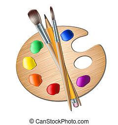 Una paleta de arte con pincel para dibujar