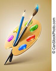 Una paleta de arte con pincel y herramientas para dibujar