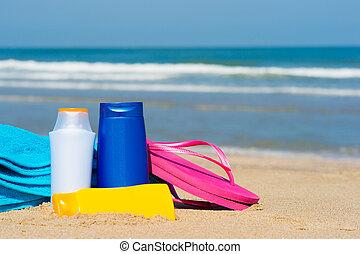 Una pantalla solar en la playa