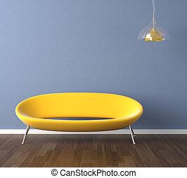 Una pared azul con diseño de interior amarillo