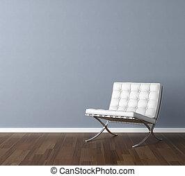 Una pared azul con diseño de silla blanca