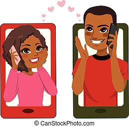Una pareja adora el smartphone
