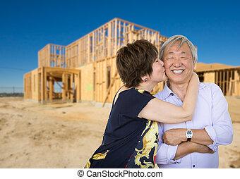 Una pareja adulta china besándose frente a una nueva casa enmarcada en la construcción.