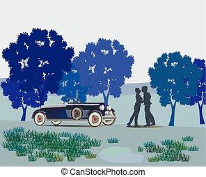 Una pareja besándose en el parque Valenti