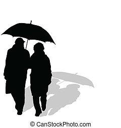 Una pareja caminando con paraguas