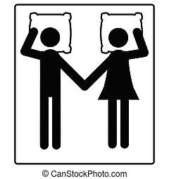 Una pareja casada yace en el ícono de la cama