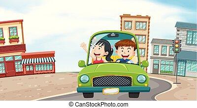 Una pareja conduciendo por la ciudad