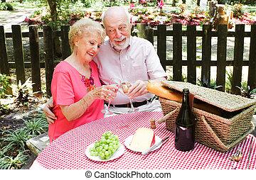 Una pareja de ancianos, picnic
